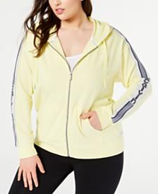 Calvin Klein Performance Plus Size Vertical-Logo Zip Hoodie