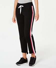 Calvin Klein Performance Varsity-Stripe Step-Hem Sweatpants