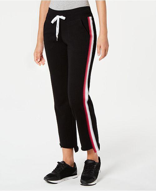 Calvin Klein Varsity-Stripe Step-Hem Sweatpants