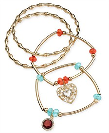 Thalia Sodi 4-Pc. Set of Stone & Heart Bangle & Stretch Bracelets, Created for Macy's