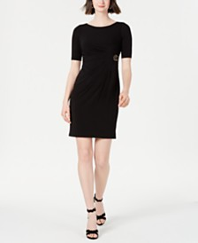 Jessica Howard Petite Ruched Buckle Dress