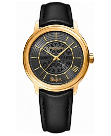 Men's Swiss Automatic Maestro Beatles Black Vegan Strap Watch 39.5mm