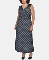 6f5d33479f6 NY Collection Plus Size Printed Wrap-Front Maxi Dress