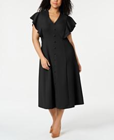 Calvin Klein Plus Size Button-Front A-line Dress