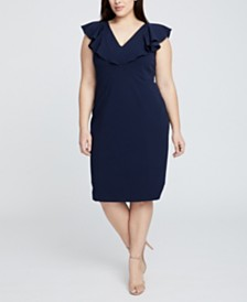 RACHEL Rachel Roy Plus Size Sleeveless Ruffle Front Dress