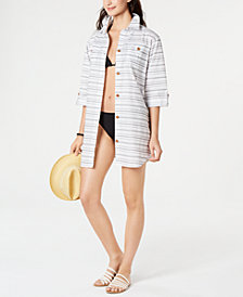 Dotti Baja Striped Cotton Cover-Up Shirt