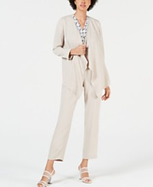 Bar III Crepe Cardigan, Printed Blouse & Crepe Pants, Created for Macy's