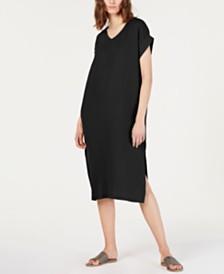 Eileen Fisher Organic Cotton Crinkled Dress, Regular & Petite