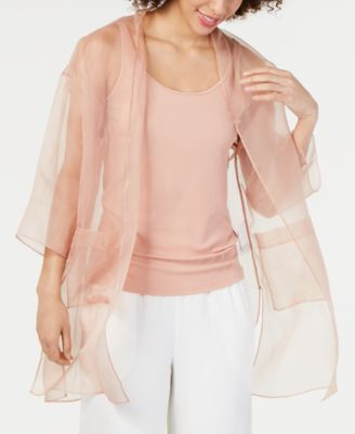 Silk Organza 3/4-Sleeve Kimono Jacket