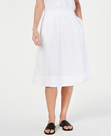 Eileen Fisher Organic Cotton A-Line Pull-On Midi Skirt