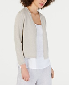 Eileen Fisher Bracelet-Sleeve Cropped Cardigan