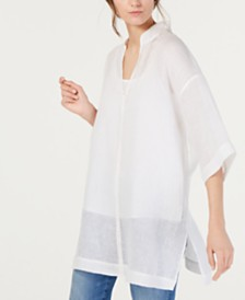 Eileen Fisher Organic Linen Stand-Collar Tunic Top, Regular & Petite