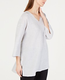Eileen Fisher Organic Linen Striped Tunic Top
