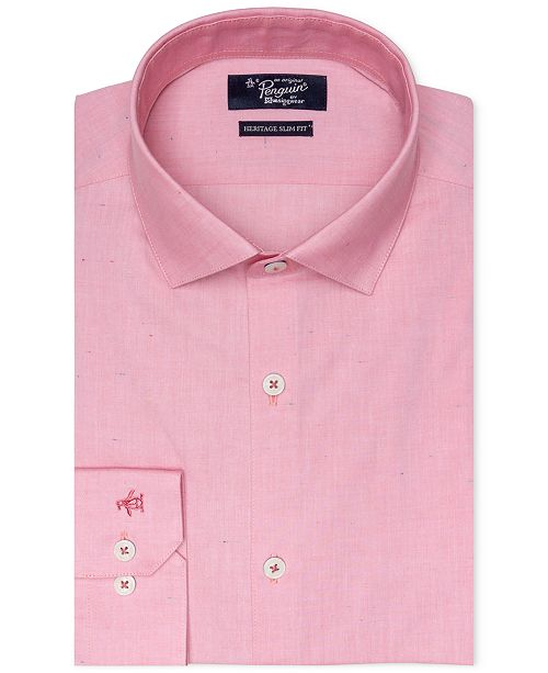 Original Penguin Men's Heritage Slim-Fit Comfort Stretch Solid Dress Shirt