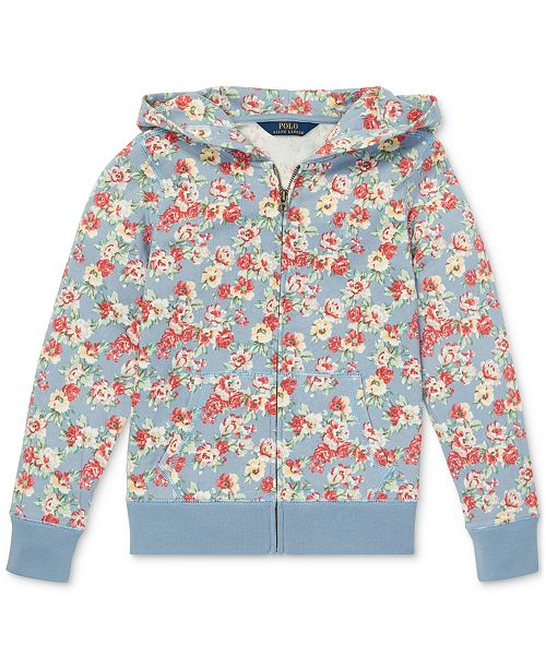 30e402d1033ea ... Polo Ralph Lauren Big Girls Floral-Print Cotton French Terry Hoodie ...