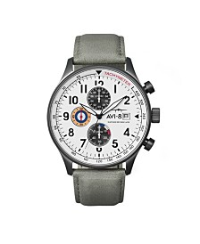 AVI-8 Men's Japanese Quartz Chronograph Hawker Hurricane, AV-4011-0B, Grey Leather Strap Watch 42mm