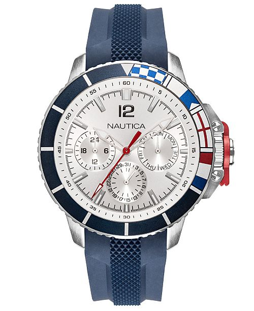 Nautica Men's NAPBHP903 Bay Ho Multifunction Navy/Silver/Black Silicone Strap Watch