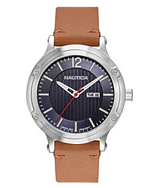 Men's NAPPSP901 Porthole Slim Tan Leather Strap Watch Box Set + Navy Leather Strap