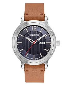Nautica Men's NAPPSP901 Porthole Slim Tan Leather Strap Watch Box Set + Navy Leather Strap
