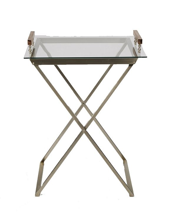 Mind Reader Glass Table with Removable Glass Tray For Serving Purposes