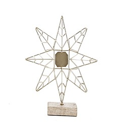 Decorative Iron Star with Wood Base Accent Decor Piece