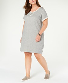 Style & Co Plus Size Lace-Up T-Shirt Dress, Created for Macy's