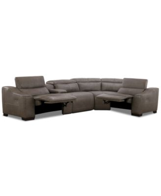 Ruthin 5-Pc. Leather Sectional Sofa with 2 Power Recliners & USB Console