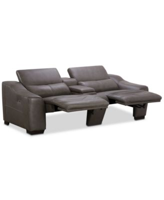 Ruthin 3-Pc. Leather Sectional Sofa with 2 Power Recliners & Console