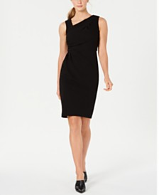 Calvin Klein Asymmetrical-Neck Sheath Dress