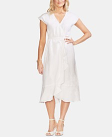 Vince Camuto Faux-Wrap Ruffled Linen Dress