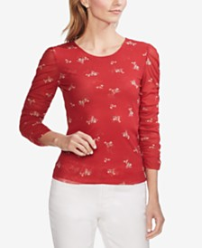 Vince Camuto Printed Ruched-Sleeve Top