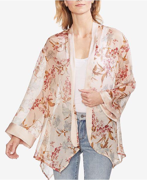 Vince Camuto Printed Sheer Kimono Cardigan
