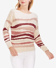 Vince Camuto Textured Wave-Stripe Sweater