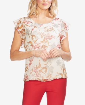Vince Camuto Tops PRINTED RUFFLE-SLEEVE TOP