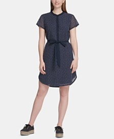DKNY Printed Lace-Overlay Belted Shirtdress