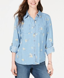 Style & Co Sun Blossom Printed Top, Created for Macy's