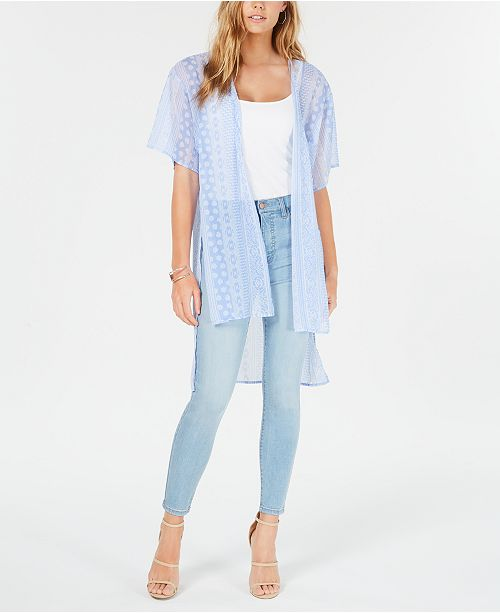 Ultra Flirt Juniors' Printed Tie-Front High-Low Kimono