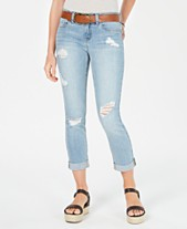 35b2016d645 Dollhouse Juniors  Belted Ripped Skinny Jeans