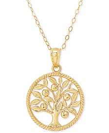 "Family Tree 18"" Pendant Necklace in 10k Gold"