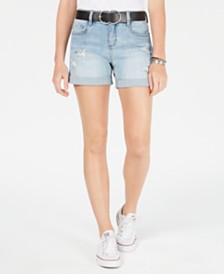 Dollhouse Juniors' Belted Ripped Denim Shorts