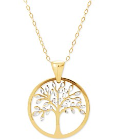 """Family Tree Two-Tone 18"""" Pendant Necklace in 14k Gold"""