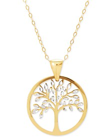 "Family Tree Two-Tone 18"" Pendant Necklace in 14k Gold"