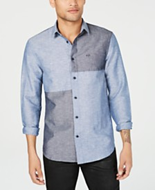 A|X Armani Exchange Men's Indigo Shades Colorblocked Shirt