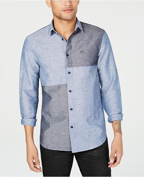A X Armani Exchange Men's Indigo Shades Colorblocked Shirt