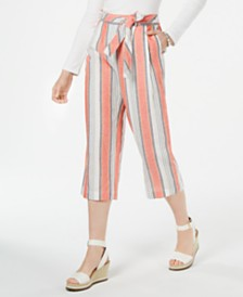 Tommy Hilfiger Linen Striped Belted Capri Pants