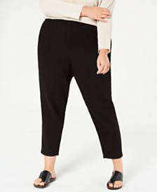 Eileen Fisher Plus Size Textured Organic Cotton Pants