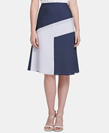 DKNY Colorblocked Midi Skirt