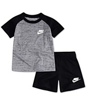on sale a0601 53ed4 Nike Baby Boys 2-Pc. Raglan T-Shirt   French Terry Shorts Set