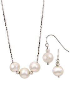 2-Pc. Set Cultured Freshwater Pearl (8mm) Statement Necklace & Drop Earrings in Sterling Silver