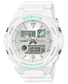 Baby-G Women's Analog-Digital White Resin Strap Watch 42.4mm